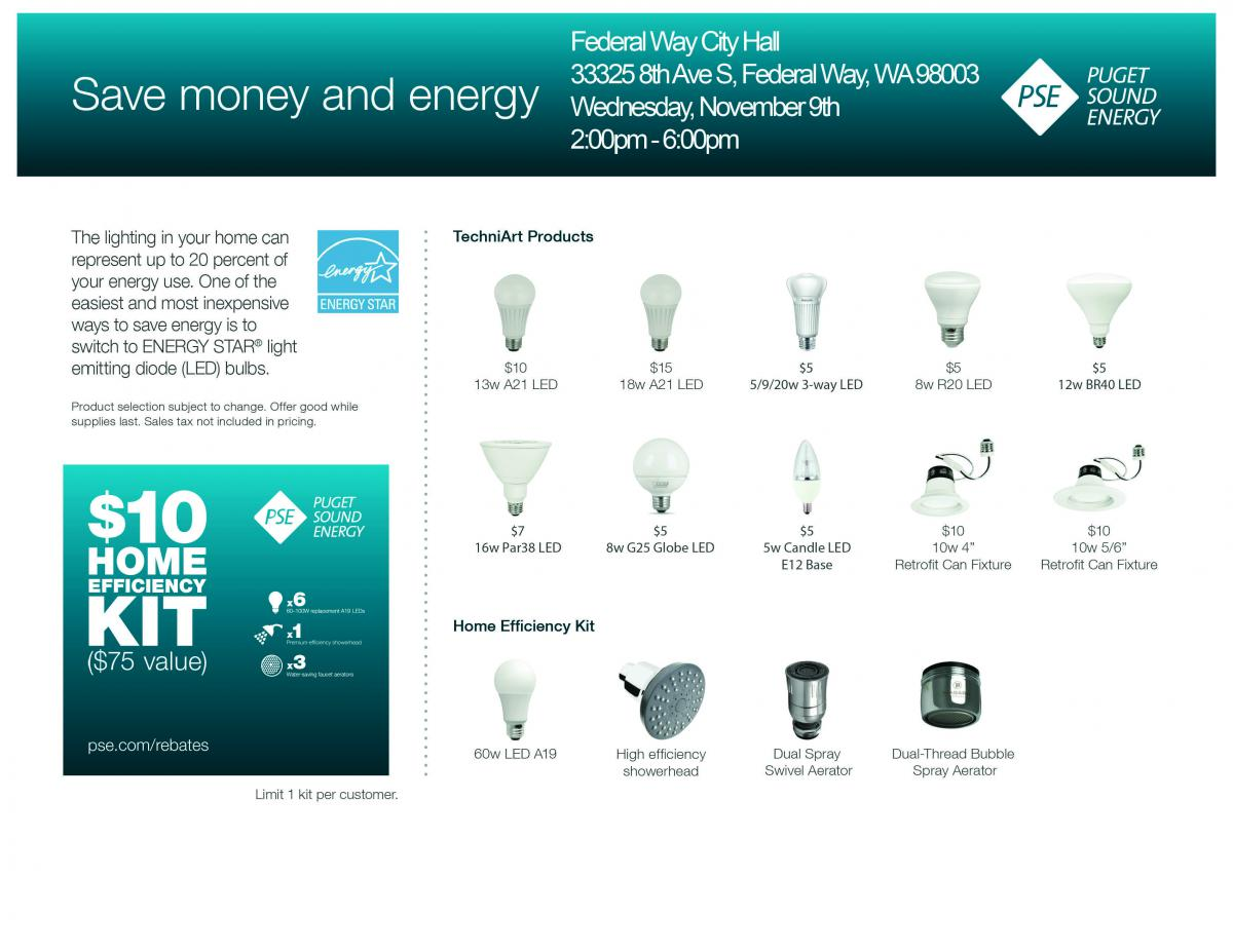 Energy Efficient Led Light Bulb Sale City Of Federal Way